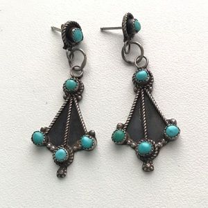 Vintage sterling silver Turquoise Drop Earrings